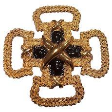 St John Maltese Cross Gold tone Black Enamel Brooch
