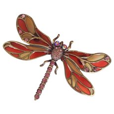 Large Dragonfly Plique a Jour Resin Brooch
