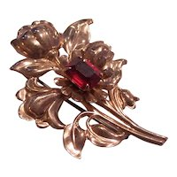 Retro Rose Gold Plated Sterling Silver Floral Brooch