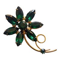 Emerald Green Rhinestone Flower Brooch Gold tone