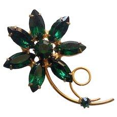 Emerald Green Rhinestone Flower Brooch Gold tone