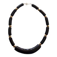Napier Curved Black Lucite & Gold tone Bead Necklace Modernist Style