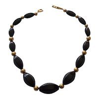 Napier Black Lucite and Gold tone Bead Necklace