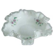 Fenton Silver Crest Violets in Snow Ruffled Crimped Dish Kay Davis