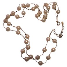 Pretty Monet 2-Strand Faux Pearl Necklace Gold tone