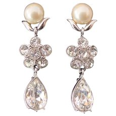 Monet Long Dangling Rhinestone Faux Pearl Earrings Silver tone