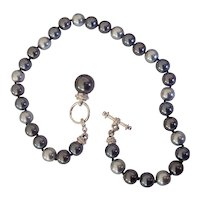 Shades of Gray Faux Pearl  Bead Toggle Silver tone Necklace