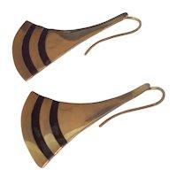 Fan Shaped Dangling Silver Earrings w/ Black Enamel - Gold Wash