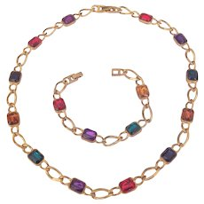 Multi Color Rhinestone Necklace & Bracelet Gold tone Set