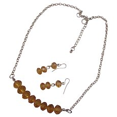 Amber Citron Crystal Glass Necklace and Earrings Silver tone