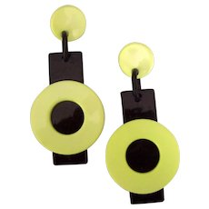 Big Bold Memphis Style Neon Green & Black Plastic Earrings