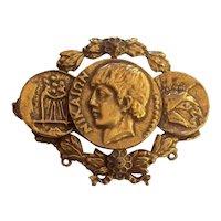 Coro Craft Greek God Coins Nike Brooch Gold tone