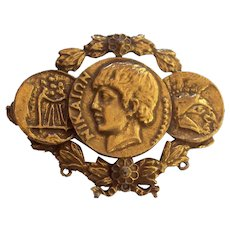 Coro Craft Greek God Coins Nike Brooch Gold tone