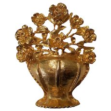 Flowers in Basket Urn 3-D Gold tone Brooch