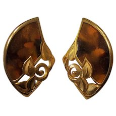 Edgar Berebi Gold Leaves  & Earth Tones Earrings