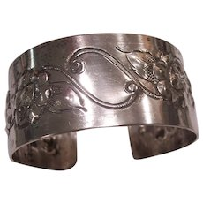 Beautiful Vintage Sterling Silver Repousse Floral Cuff Bracelet