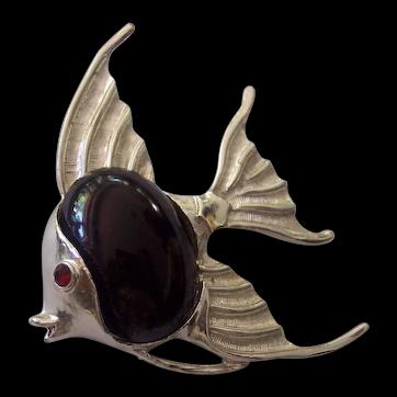 Dodds 11 W. 30 ST Angel Fish Brooch Black Cabochon Silver tone