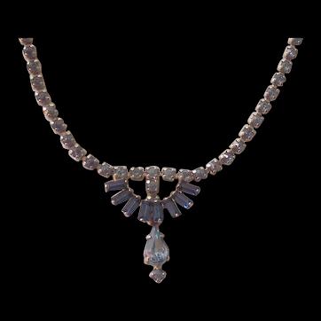 Sherman 2 Shades of Blue Rhinestone Silver tone Necklace