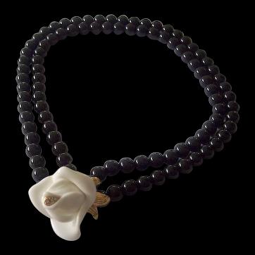 KJL for Avon Black Beaded White Lucite Rose w/ RS Necklace Gold tone Kenneth J Lane