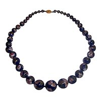 Beautiful Enamel Cloisonne Dark Cobalt Blue Beaded Necklace