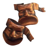 Copper Comedy & Tragedy Mask Pins on Card - Hand Crafted