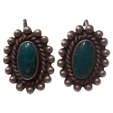 Sterling Silver Turquoise Green Native American Earrings