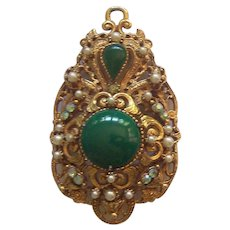 Large Florenza Brooch / Pendant Green Cabochons Faux Pearls & RS Gold tone