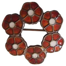 Volmer Bahner VB Denmark Enamel Sterling Silver Flower Brooch Red & White