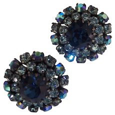 Beautiful Vintage Blue Austria Crystal Earrings Silver tone