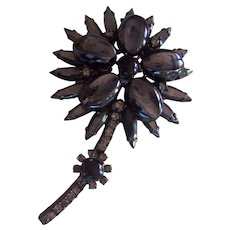 Verified Juliana D & E Hematite Flower Brooch