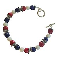 Patriotic Red, White, & Blue Bead Bracelet Silver tone