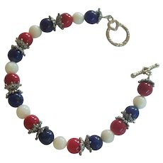Patriotic Red, White, & Blue Bead Bracelet Silver tone