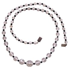 Deco Beehive Crystal & Black Glass Bead Necklace Sterling