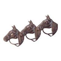 Triple Horse Sterling Silver Brooch by Beau