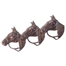 Triple Horse Sterling Silver Brooch by Beau