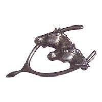 Double Horse in Wishbone Sterling Silver Brooch
