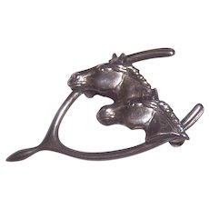 Double Horse in Wishbone Sterling Silver Brooch