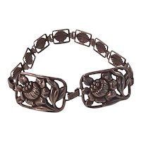Beautiful Sterling Silver Floral Panel and Link Bracelet