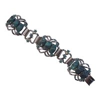 Turquoise Thermoset Plastic Silver tone Link Bracelet Selro Selini Style