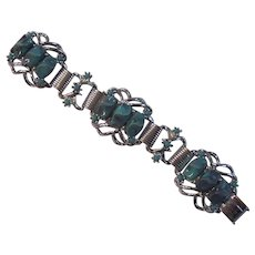 Turquoise Thermoset Plastic Silver tone Link Bracelet Selro Selini Style