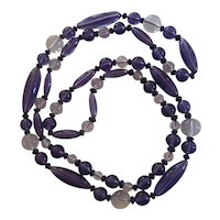 Gorgeous Art Deco Violet and Clear Beaded Necklace Orbs and Elongated Beads