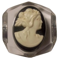 Angled Clear Lucite Black & White Cameo Brooch