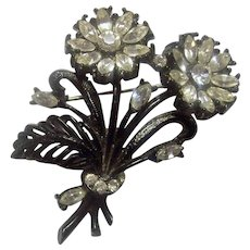 Vintage Japanned Flowers and Rhinestone Brooch