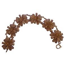 Cannetille Filigree 835 Silver Gold Gilt Floral Link Bracelet