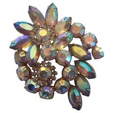 Gorgeous Layered AB Aurora Borealis Rhinestone Floral Brooch