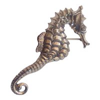 Realistic Sterling Silver Vintage Seahorse Brooch by Beau