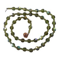 Vintage Green Olivine Faceted Crystal AB Beads Necklace w/ Flower Clasp