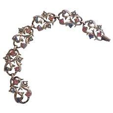 Vintage Pink and Aurora Borealis Rhinestone Bracelet Silver tone