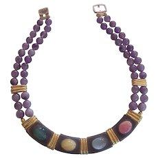 Amethyst & Art Glass Necklace by Gilda Bijoux-Egyptian style Collar