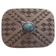 Southwestern Style Silver tone & Faux Turquoise Cabochon Pendant Brooch by Caroline
